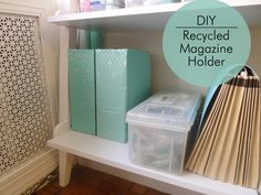DIY Magazine Holder made from an old cardboard box. You could make any size. And, it could hold just about anything