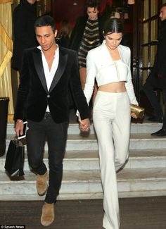Kendall and Olivier Rousteing leaving Hôtel...