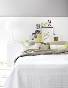 This is so soothing! stylist Susanna Vento's work: bedroom collage as headboard
