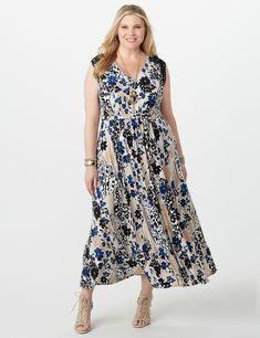 697247b7d1b9 Plus Size Floral Crochet-Trim Maxi Dress