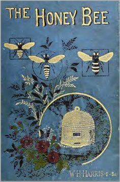 The Honey-bee; its nature, homes and products / William Harris Hetherington, 1884 Vintage Book Covers, Vintage Books, Vintage Library, Library Art, Vintage Magazines, I Love Bees, Bee Skep, Vintage Bee, Beautiful Book Covers