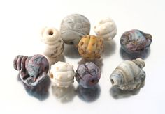 Glass 'fossil' style beads