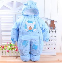 Free Shipping 2016 Winter newborn baby thick rompers children wadded jacket kids warm cotton-padded fleece jumpsuits overalls