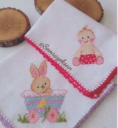 My son's baby handkerchiefs are handmade, his aunt made them. I didn't think that they were gonna work that much. Baby Hands, Baby Shower Gifts, Cross Stitch, Baby Boy, Embroidery, Make It Yourself, Sewing, Projects, Crafts