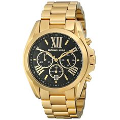 This classic timepiece by Michael Kors features a stainless steel case and bracelet finished in polished goldtone. A black chronograph dial, precise quartz movement and a water-resistance level of up to 100 meters finish this fine timepiece.