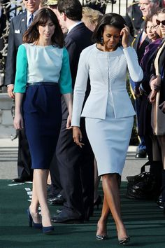 Michelle Obama Blue Monochrome Outfit 2017 Street Style