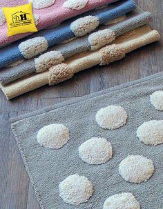Allegro tappeto bagno rettangolare in colore grigio con decori bianchi
