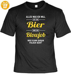 T-Shirt - Alles was ich will ist Blowjob und Bier - lustiges Shirt mit frechem Spruch als Geschenk für Leute mit Humor (*Partner-Link)