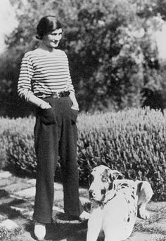 Coco Chanel photographed in 1930 started selling Breton striped shirts in 1917.