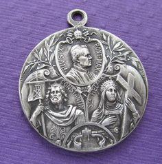 Medal Saint Constantine Saint Helen Pope Pius X Signed Kissing SS148