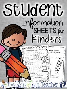 Back to School Activities Back to School - Student Information Sheets for Kinders This FREEBIE is just what you need for your Kindergarten Orientation Day! 13 Student Information Sheets total are included so that you can mix and match to get just what you like. Three formats are included: -Stud... Welcome To Kindergarten, Beginning Of Kindergarten, Welcome To School, Beginning Of School, Kindergarten Classroom, Back To School Night, First Day School, Sunday School, Brad Pitt