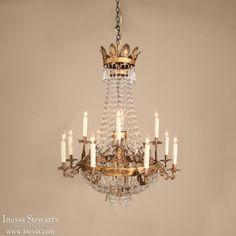 Italian Antiques | Antique Chandeliers | 19th Century Empire Period Crystal Italian Chandelier | www.inessa.com