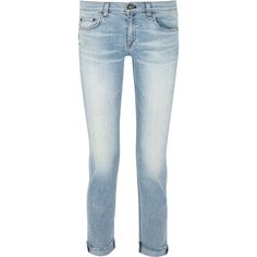 Rag & bone - Dre Mid-rise Boyfriend Jeans ($121) ❤ liked on Polyvore featuring jeans, light denim, blue jeans, button-fly jeans, 5 pocket jeans, medium rise jeans and mid rise jeans