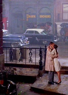 Audrey Hepburn and George Peppard in Breakfast at Tiffany's.
