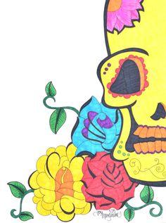 Yellow Sugar Skull Drawing, Day of the Dead Artwork, 9x12 inch Skull Art, Dia De Los Muertos, Mexican Inspired, Original Colorful Wall Decor