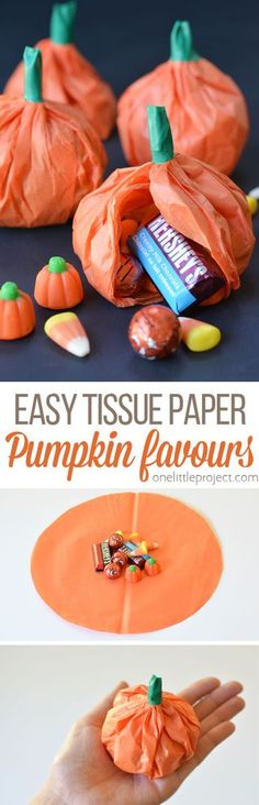 fall party food These tissue paper pumpkin favours are a great treat to send to school on Halloween or they make super cute party favours! Use them for any fall occasion! Sac Halloween, Halloween Food For Party, Holidays Halloween, Halloween Treats, Happy Halloween, Halloween Decorations, Halloween Gift Bags, Halloween Recipe, Halloween Trick Or Treat