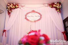 Trang trí lễ ăn hỏi, đón dâu tại nhà - Engagement Decorations - Designed and decor by WedinStyle - The Stylish Wedding Planner of Vietnam Engagement Decorations, Wedding Flower Decorations, Wedding Flowers, Backdrop Ideas, Backdrops, Wedding Background, Tea Ceremony, Special Events, Wedding Planner
