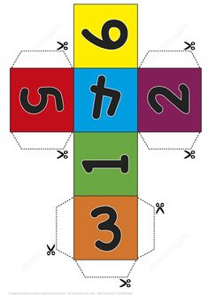 Paper Dice Cube Template with Numbers from Printable Board Games category. Hundreds of free printable papercraft templates of origami cut out paper dolls stickers collages notes handmade gift boxes with do-it-yourself instructions. Cube Template, Board Game Template, Paper Box Template, Printable Board Games, Free Printable Numbers, Templates Printable Free, Preschool Math, Kindergarten Activities, Paper Cube