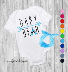 Baby Bear Baby Bodysuit with Matching Headband Option By UncleJesses Clothing  Unisex Kids' Clothing  Bodysuits  brand sparkling new  new mom gift  baby swag  baby shower gift  for baby girl man cub  mama bear papa bear  gender reveal gift  cute baby gift  little man  funny baby gift  unisex baby  be brave Cute Baby Onesie