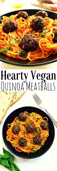 The best vegan meatballs for pasta: quinoa and mushroom with a bit of a kick. Best of all they're super healthy because they're baked instead of fried!