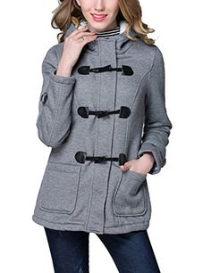 1210ea216fb Looseplus Womens Plus Size Fall Winter Horn Button Outwear Warm Hoodie Pea Coat  Jacket