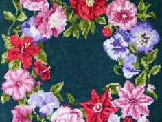 Ring of Flowers finished needlepoint by VINTAGENEVA on Etsy