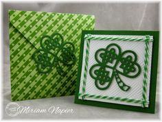 handmade St. Patrick's Day card from Miriam's Delirium blog ... Serendipity Stamps Shamrock die ... square card ... like the double strand baker's twine border and the lovely background embossing folder texture ... matching envelope with die as a closure ... great card!!