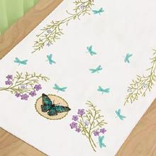 Butterfly Meadow Dresser Scarf Stamped Cross Stitch