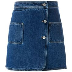 Courrèges wrap denim skirt ($420) ❤ liked on Polyvore featuring skirts, mini skirts, bottoms, blue, denim skirt, short mini skirts, short skirts, blue skirt and a-line skirts