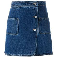 Courrèges Wrap Denim Skirt (6,025 MXN) ❤ liked on Polyvore featuring skirts, mini skirts, bottoms, denim, blue, denim skirt, blue skirt, high waisted a line skirt, a line skirt and blue denim mini skirt