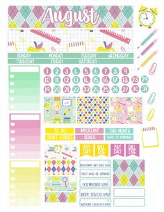 Printable Planner Stickers August Monthly View by LaceAndLogos