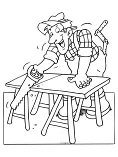 Carpenter Colouring Pages timmerman