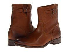 Frye Pippa Back Zip Short Cognac Soft Vintage Leather - 6pm.com sz 8