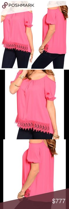 COMING SOON Trendy Coral Top(USA) This cool and trendy woven short sleeve top features a shirred scoop neckline with cutout shoulders. Sheer crochet front hem lace accent. Made in the USA. NWOT from wholesaler. Check out my other items for a bundle discount. PRICE FIRM UNLESS BUNDLED. Tops Blouses