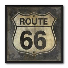 Framed reproduction of a Route 66 highway sign