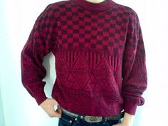 *SOLD* Vintage Men's Sweater Maroon Geometric Print by GarageEccentrica, $21.90 www.garageeccentrica.etsy.com