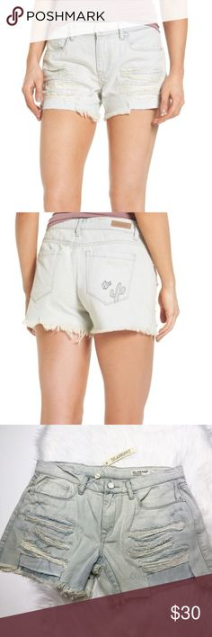 NWT Blank NYC Light Denim Distressed Cactus Shorts Brand new with tags. Size 29,30, or 31! Super light wash blue distressed cutoff shorts with cactus embroidery. No trades!! Blank NYC Shorts Jean Shorts