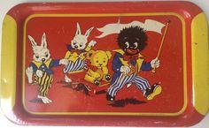 Rare vintage Happynak tin-litho toy tray with bunnies and Golliwog #Happynak