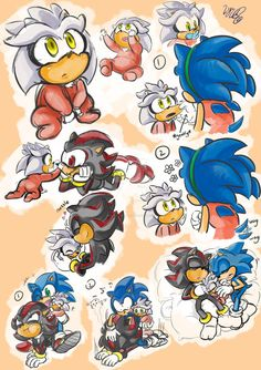 little silver and his brothers shadow and sonic Sonic The Hedgehog, Hedgehog Movie, Silver The Hedgehog, Shadow The Hedgehog, Sonic Underground, Sonic Funny, Sonic Mania, Sonic Franchise, Sonic Heroes