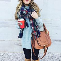 Grey turtleneck, black jeans, Suede knee-high bots, plaid Scarf, chloe tan maurcie bag, starbucks red cup, thanksgiving outfit ideas