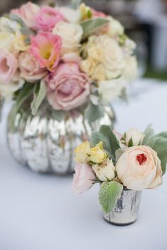 Love these mercury glass vases for wedding day decor via @Karen Jacot Darling Me Pretty! Recreate the look with Threshold tumblers