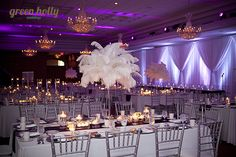 Ostrich feather centerpieces really make a statement!