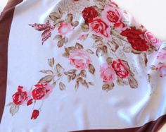 Pink floral scarf, Gift for wife, Summer Cover up, Birthday Gift  Best Friend, Coworker Gift, Colorful cancer head Scarf, Pink Red Roses, by blingscarves. Explore more products on http://blingscarves.etsy.com