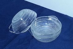 Clear Glass Small Art Deco Style Bowls (#2016) by CherishedAgain on Etsy