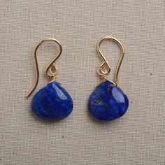 lapis earrings little blue earrings lapis lazuli gold by izuly, $34.00