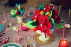 Retro Candy Land-inspired Christmas decorations