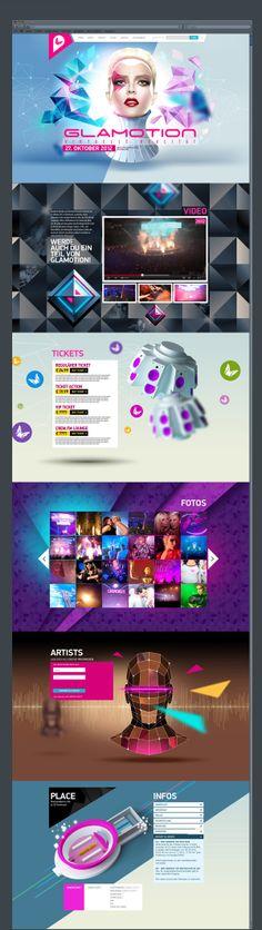 Glamotion 2012 by Alexandre Efimov, via Behance Web Layout, Well Designed Websites, Desktop Design, Apps, Ui Web, Web Design Inspiration, Design Ideas, User Interface Design, Site Internet