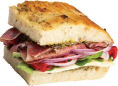 Prosciutto Pesto Panini: Focaccia or ciabatta bread is the perfect carrier for this sandwich that features pesto, thin slices of prosciutto, arugula and mozzarella.