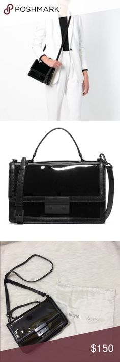"""Michael Kors Callie Patent Leather Crossbody Great overall condition! Black patent leather and matte clasp. Some normal signs of wear shown on inside of the clasp. Approx measurements: 9"""" length, 3"""" width, 7"""" height. Strap drop up to 24"""" and can be adjusted to a shorter length. Retail $298. Will take reasonable offers! No trades, no lowballs Michael Kors Bags Crossbody Bags"""