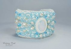 Bridal white blue bead embroidery handmade cuff bracelet with pearls – Exclusive Craft